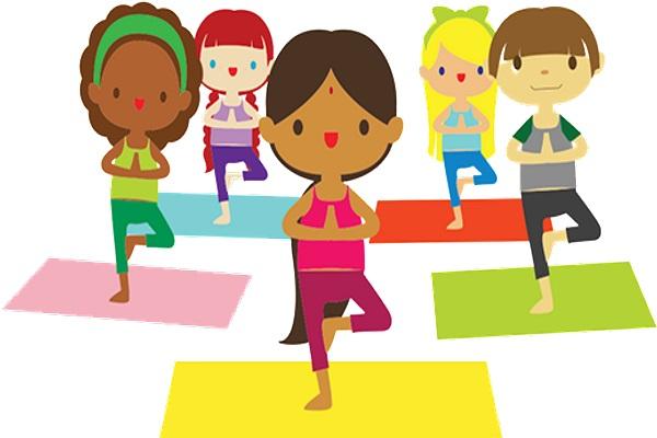 graphic of children doing yoga